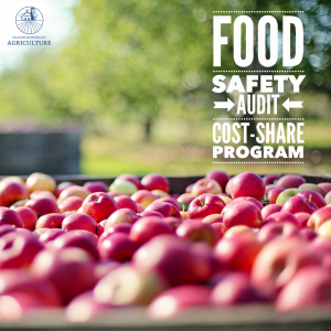 Picture of Apples on a wagon overlayed with the Delaware Department of Agriculture logo and text that say Food Safety Audit Cost-Share Program