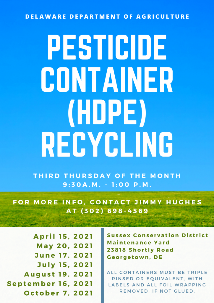 blue sky with green grass and overlayed words pesticide container hdpe recycling and dates of event