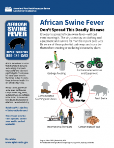 Infographic African Swine Fever: Don't Spread This Deadly Disease, Potential pathways of spread include garbage feeding, contaminated vehicles and equipment, contaminated clothing and shoes, feral swine, international travelers, contaminated feed